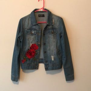 Distressed Denim Jacket with Rose decal
